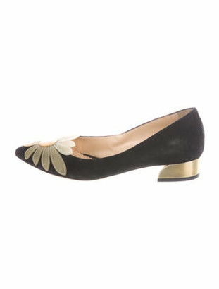 Charlotte Olympia Suede Floral Print Flats Black