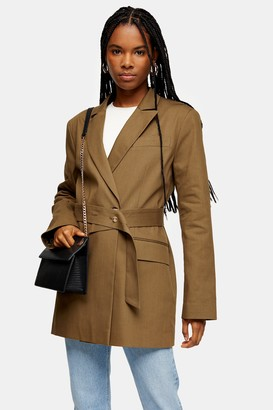 Topshop Womens Khaki Belted Oversized Blazer - Khaki