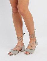 Charlotte Russe Qupid Peep Toe Lace-Up Flats
