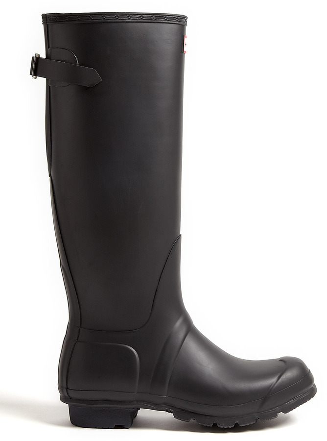 Hunter Black And Enamel Original Adjustable Back Boots