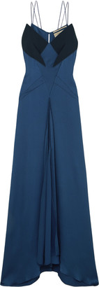 Roland Mouret Revere Crepe-trimmed Hammered Stretch-silk Satin Gown
