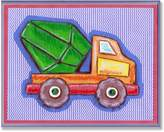 Stupell Industries The Kids Room by Stupell Orange and Green Cement Truck on Blue Stripes Rectangle Wall Plaque
