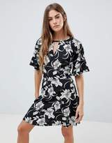 Daisy Street Floral Print Dress with Split Neck Detail