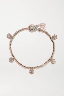 Brooke Gregson Coin 14-karat Rose Gold, Sterling Silver, Silk And Diamond Bracelet