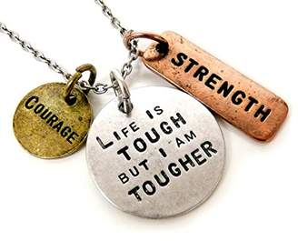 Charm & Chain Jewelry Nexus Life is Tough But I Am Tougher Three Tone Antique Stamped Pendant Charm Chain Necklace