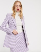 And other stories & gingham check sculpted blazer in lilac