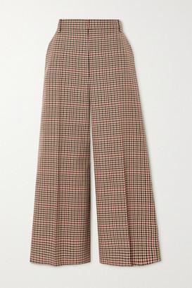 Joseph Travis Checked Wool-blend Wide-leg Pants - Brown