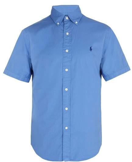 Polo Ralph Lauren Logo Embroidered Short Sleeve Cotton Shirt - Mens - Blue