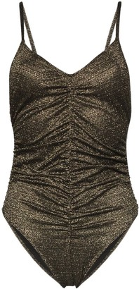Lisa Marie Fernandez metallic ruched camisole body