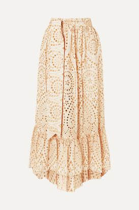 Lisa Marie Fernandez Nicole Embroidered Broderie Anglaise Cotton Maxi Skirt - Neutral