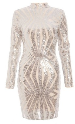 Dorothy Perkins Womens Quiz Silver Sequin Bodycon Dress, Silver