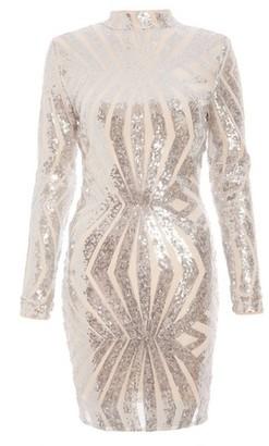 Dorothy Perkins Womens Quiz Silver Sequin Bodycon Dress, Silver