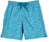 Vilebrequin Jim Micro-Turtle Printed Swim Trunks, Blue Pattern, Boys' 2-8