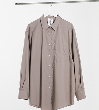 Collusion Plus oversized shirt in mocha
