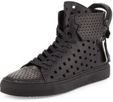 Buscemi Men's 125mm Perforated Leather High-Top Sneaker, Black