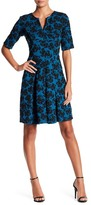 Gabby Skye Split Neck Jacquard Dress