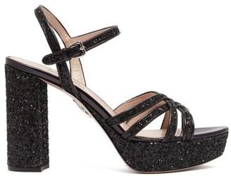 Miu Miu Glitter Leather Platform Sandals - Womens - Black