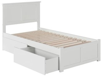 Atlantic Furniture Madison Platform Bed with Flat Panel Foot Board and 2 Urban Bed Drawers in Multiple Colors and Sizes