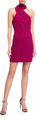 ONE33 SOCIAL Drape-Neck Crepe Sheath Dress