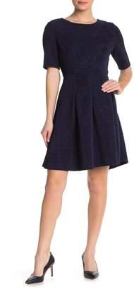Sandra Darren Elbow Sleeve Textured Fit & Flare Dress
