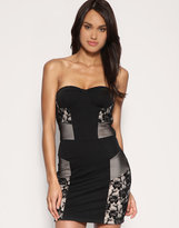 ASOS Mesh And Lace Panelled Bandeau Dress
