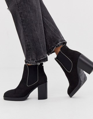Miss KG chain detail heeled boot in black