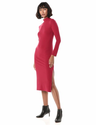 The Drop Women's Alyssa Fitted Long Sleeve Funnel Neck Ribbed Midi Bodycon Dress
