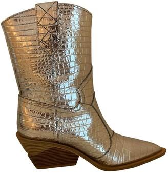 Fendi Cowboy Silver Leather Boots