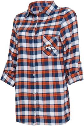 Women's Concepts Sport Navy/Orange Denver Broncos Piedmont Flannel Button-Up Long Sleeve Nightshirt