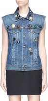 Dolce & Gabbana Mixed jewelled button brocade yoke denim vest