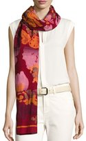 Etro Wool-Blend Floral Jacquard Scarf, Ivory
