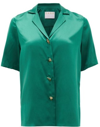 S.a.r.k - Dietrich Hand-button Short-sleeved Silk Shirt - Green