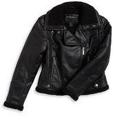 Bernardo Girls 7-16 Faux Leather Sherpa-Lined Moto Jacket