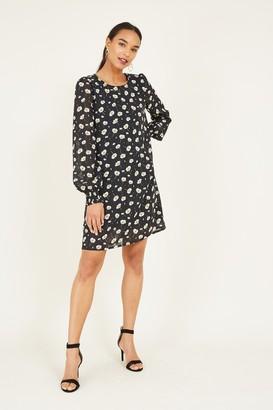 Yumi Black Ditsy Floral Tunic Dress