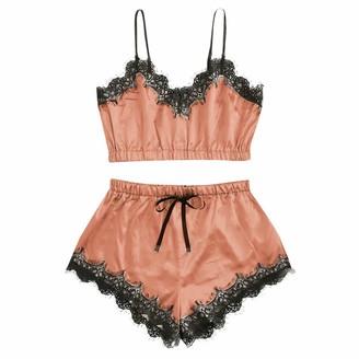 Jiegorge Intimates for Women Women Sleepwear Sleeveless Strap Nightwear Lace Trim Satin Cami Top Pajama Sets