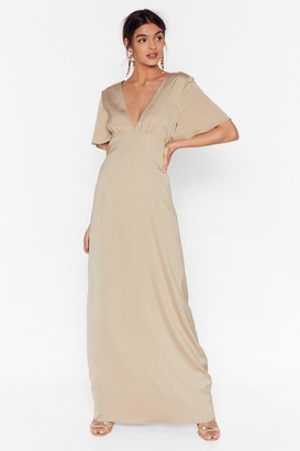 Nasty Gal Womens Oh We Didn't V You There Satin Maxi Dress - Almond