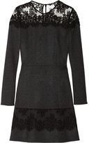 Roberto Cavalli Lace-trimmed wool and cashmere-blend flannel dress
