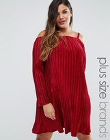 Club L Plus Off Shoulder Smock Dress In Pleated Velvet