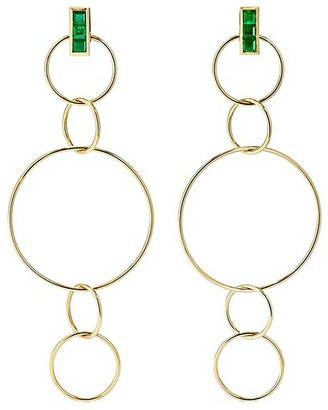 Ileana Makri Emerald Fancy Hoops Yellow Gold Drop Earrings