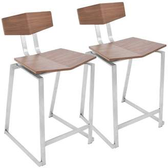 "Lumisource 29"" Flight Contemporary Barstool - Walnut - (Set of 2)"