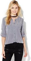 New York & Co. Soho Soft Shirt - Collarless - Solid