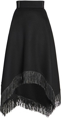 Saint Laurent Wool & Cashmere Fringe Skirt