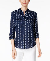 Charter Club Petite Seahorse-Print Shirt, Only at Macy's