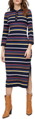 Warehouse Multi Rib Polo Neck Stripe Dress