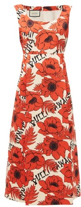 Gucci Flying Poppies-print Silk-duchess Midi Dress - Red White