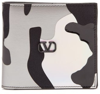 Valentino Holographic-camouflage Canvas And Leather Wallet - Mens - Camouflage