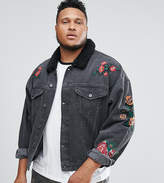 Asos PLUS Denim Jacket With Embroidery & Fleece Collar In Black Wash