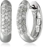 Amazon Collection 14k Gold Round-Cut Pave Diamond Hoop Earrings (1/4 cttw, H-I Color, I3 Clarity)
