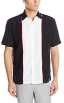 Cubavera Men's Short Sleeve Tri Color Panel Woven Shirt