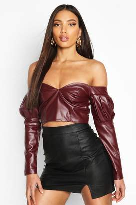 boohoo Volume Sleeve Off The Shoulder Pu Top